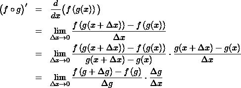 \begin{eqnarray*} \big( f \circ g \big)' &=& \frac{d}{dx}\big( f\left(g(x) \right) \big) \\ &=& \lim_{\Delta x\to 0} \frac{ f\left(g(x+\Delta x) \right)  - f\left(g(x) \right)  }{\Delta x} \\ &=& \lim_{\Delta x\to 0} \frac{ f\left(g(x+\Delta x) \right)  - f\left(g(x) \right)  }{g(x+\Delta x)   - g(x)} \cdot \frac{ g(x+\Delta x)   - g(x)  }{\Delta x} \\ &=& \lim_{\Delta x\to 0} \frac{ f\left(g+ \Delta g \right)  - f\left(g \right)  }{\Delta g} \cdot \frac{ \Delta g  }{\Delta x}  \end{eqnarray*}