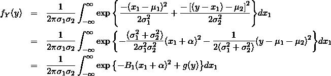 \begin{eqnarray*} f_Y(y) &=& \frac{1}{2\pi\sigma_1\sigma_2} \int_{-\infty}^{\infty} \exp{\left\{ \frac{-(x_1-\mu_1)^2}{2\sigma_1^2} +\frac{-\left[(y-x_1)-\mu_2\right]^2}{2\sigma_2^2} \right\}} dx_1 \\ &=& \frac{1}{2\pi\sigma_1\sigma_2} \int_{-\infty}^{\infty} \exp{\left\{ -\frac{(\sigma_1^2+\sigma_2^2)}{2\sigma_1^2\sigma_2^2}(x_1+\alpha)^2 - \frac{1}{2(\sigma_1^2+\sigma_2^2)}(y-\mu_1-\mu_2)^2 \right\}} dx_1 \\ &=& \frac{1}{2\pi\sigma_1\sigma_2} \int_{-\infty}^{\infty} \exp{\left\{ -B_1(x_1+\alpha)^2 + g(y) \right\}} dx_1 \end{eqnarray*}