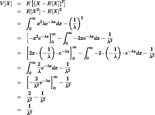 \begin{eqnarray*} V[X]&=& E\left[ (X - E[X])^2 \right] \\ &=&E[X^2] - E[X]^2 \\ &=& \int_0^{\infty} x^2 \lambda e^{-\lambda x}dx - \left(\frac{1}{\lambda}\right)^2\\ &=& \left[ -x^2 e^{-\lambda x} \right]_0^{\infty} - \int_0^{\infty} - 2 x e^{-\lambda x}dx - \frac{1}{\lambda^2}\\ &=& \left[ 2x\cdot \left(-\frac{1}{\lambda}\right)\cdot e^{-\lambda x} \right]_0^{\infty} - \int_0^{\infty} - 2\cdot \left(-\frac{1}{\lambda}\right)\cdot e^{-\lambda x}dx - \frac{1}{\lambda^2}\\ &=& \int_0^{\infty} \frac{2}{\lambda} e^{-\lambda x}dx - \frac{1}{\lambda^2}\\ &=& \left[ -\frac{2}{\lambda^2} e^{-\lambda x} \right]_0^{\infty} - \frac{1}{\lambda^2}\\ &=& \frac{2}{\lambda^2} - \frac{1}{\lambda^2} \\ &=& \frac{1}{\lambda^2} \end{eqnarray*}