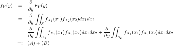\begin{eqnarray*} f_Y(y) &=& \frac{\partial }{\partial y} F_Y(y) \\ &=& \frac{\partial }{\partial y} \iint_S f_{X_1}(x_1) f_{X_2}(x_2) dx_1 dx_2\\ &=& \frac{\partial }{\partial y} \iint_{S_A} f_{X_1}(x_1) f_{X_2}(x_2) dx_1 dx_2 + \frac{\partial }{\partial y} \iint_{S_B} f_{X_1}(x_1) f_{X_2}(x_2) dx_1 dx_2\\ &=:& (A) + (B) \end{eqnarray*}
