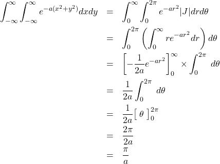 \begin{eqnarray*} \int_{-\infty}^{\infty} \int_{-\infty}^{\infty} e^{-a(x^2+y^2)} dxdy &=& \int_{0}^{\infty} \int_{0}^{2\pi} e^{-ar^2} |J| drd\theta \\ &=& \int_{0}^{2\pi} \left( \int_{0}^{\infty} re^{-ar^2} dr \right) d\theta \\ &=& \left[ -\frac{1}{2a} e^{-ar^2} \right]_{0}^{\infty} \times \int_{0}^{2\pi} \; d\theta \\ &=& \frac{1}{2a} \int_{0}^{2\pi} \; d\theta \\ &=& \frac{1}{2a} \big[\; \theta \; \big]_{0}^{2\pi} \\ &=& \frac{2\pi}{2a} \\ &=& \frac{\pi}{a} \end{eqnarray*}